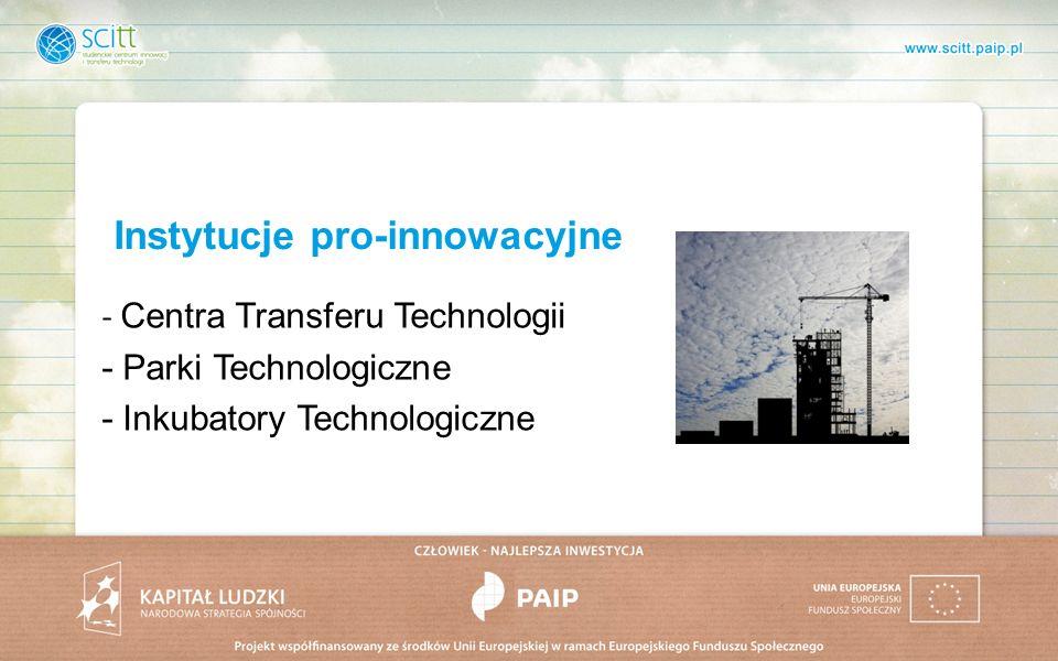 Instytucje pro-innowacyjne - Centra Transferu Technologii - Parki Technologiczne - Inkubatory Technologiczne