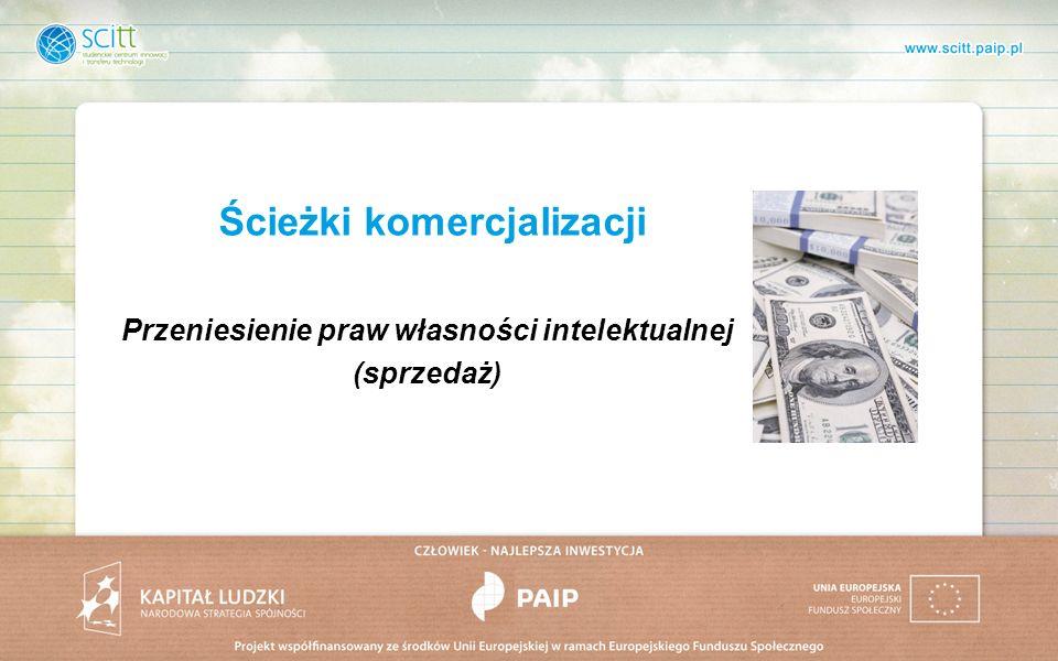 Ścieżki komercjalizacji Przeniesienie praw własności intelektualnej (sprzedaż)