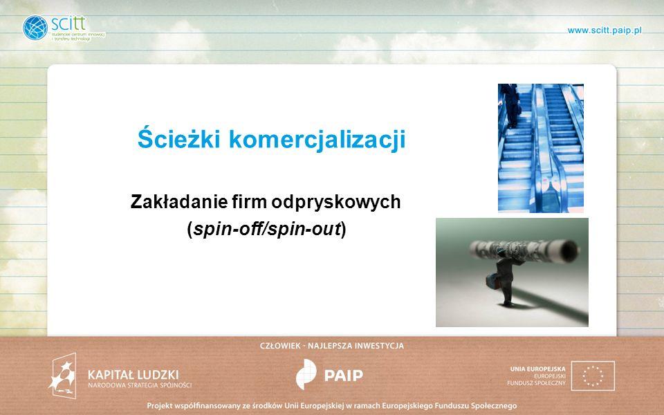 Ścieżki komercjalizacji Zakładanie firm odpryskowych (spin-off/spin-out)