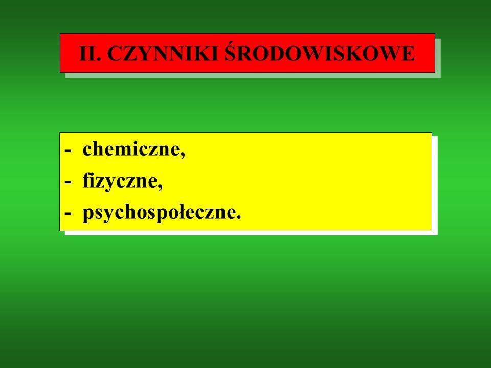 I. CZYNNIKI BIOLOGICZNE - uwarunkowania genetyczne, - rozwój i dojrzewanie, - starzenie się, - mechanizmy adaptacyjne, - regulacje homeostatyczne. - u