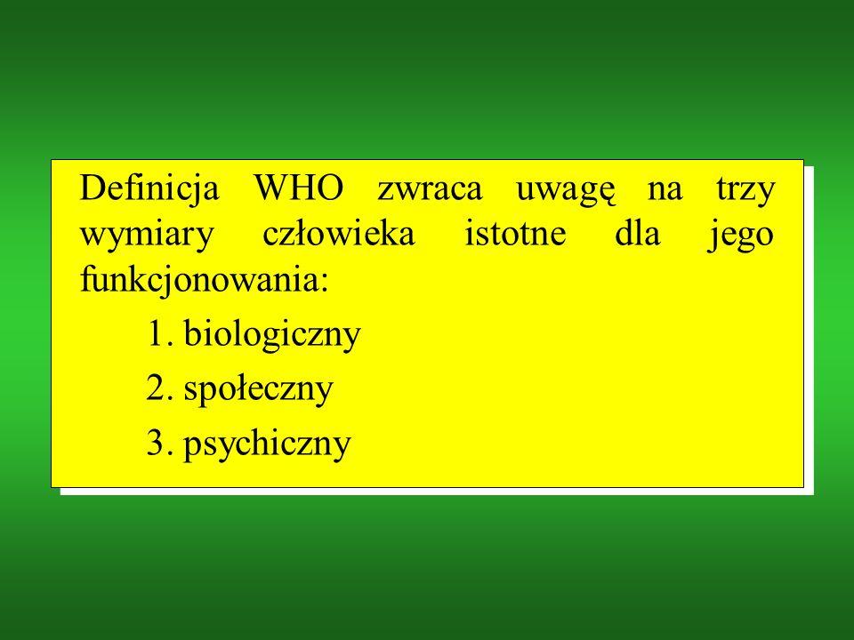 Definicja WHO zwraca uwagę na trzy wymiary człowieka istotne dla jego funkcjonowania: 1.