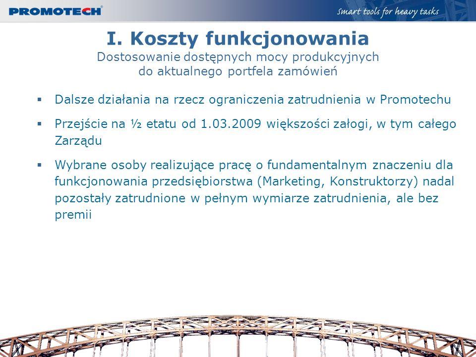 I. Koszty funkcjonowania Dostosowanie dostępnych mocy produkcyjnych do aktualnego portfela zamówień Dalsze działania na rzecz ograniczenia zatrudnieni