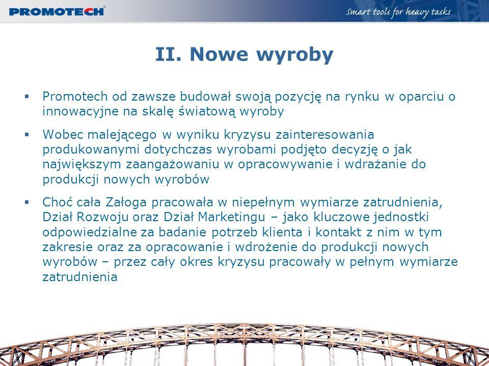 II. Nowe wyroby Promotech od zawsze budował swoją pozycję na rynku w oparciu o innowacyjne na skalę światową wyroby Wobec malejącego w wyniku kryzysu