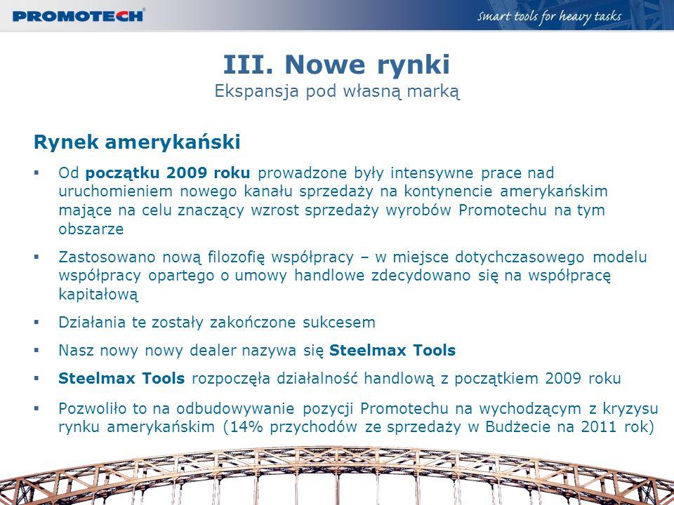 III. Nowe rynki Ekspansja pod własną marką Rynek amerykański Od początku 2009 roku prowadzone były intensywne prace nad uruchomieniem nowego kanału sp
