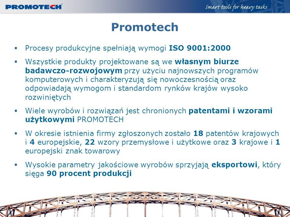 Promotech Procesy produkcyjne spełniają wymogi ISO 9001:2000 Wszystkie produkty projektowane są we własnym biurze badawczo-rozwojowym przy użyciu najn