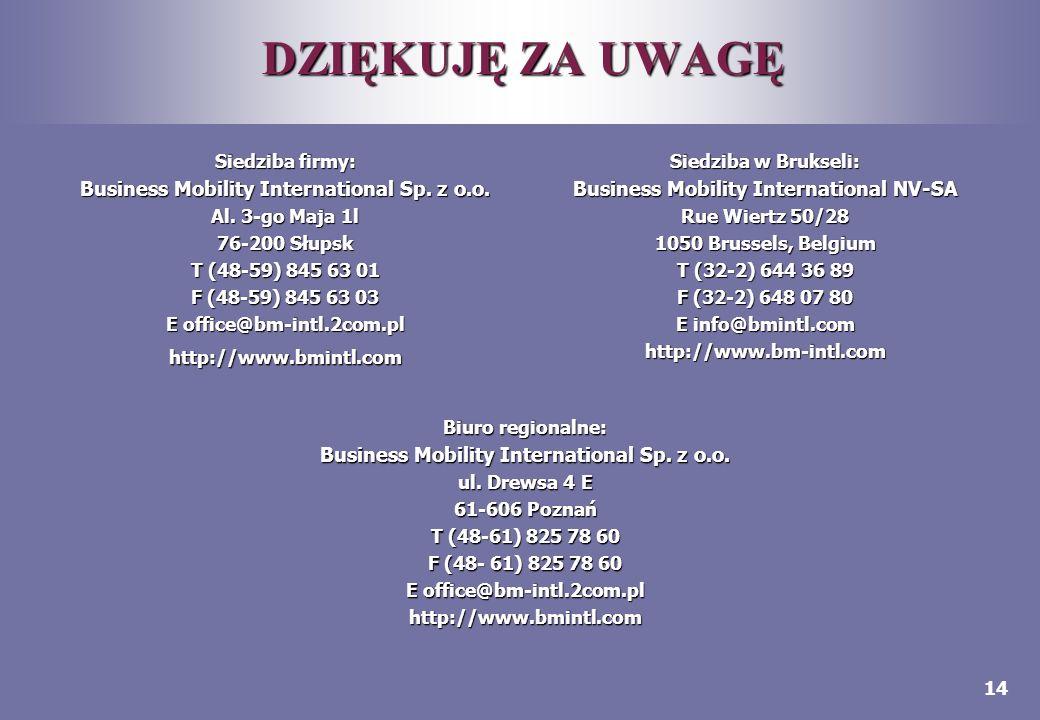 14 DZIĘKUJĘ ZA UWAGĘ Siedziba firmy: Business Mobility International Sp. z o.o. Al. 3-go Maja 1l 76-200 Słupsk T (48-59) 845 63 01 F (48-59) 845 63 03