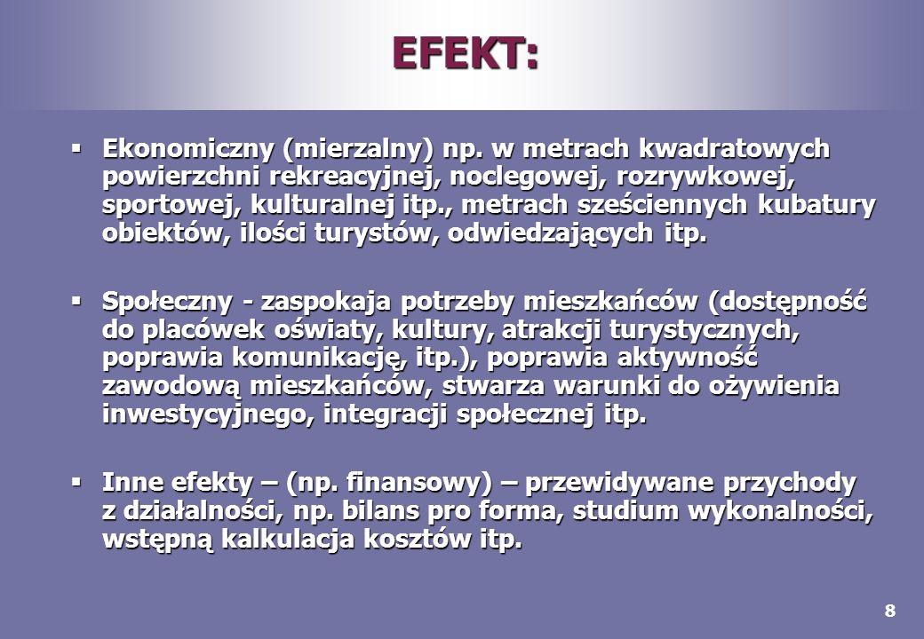 8 EFEKT: Ekonomiczny (mierzalny) np. w metrach kwadratowych powierzchni rekreacyjnej, noclegowej, rozrywkowej, sportowej, kulturalnej itp., metrach sz