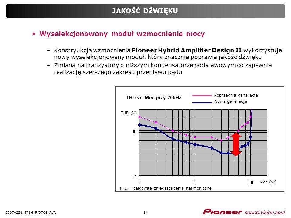 1420070221_TPIM_FY0708_AVR JAKOŚĆ DŹWIĘKU Wyselekcjonowany moduł wzmocnienia mocy –Konstryukcja wzmocnienia Pioneer Hybrid Amplifier Design II wykorzy