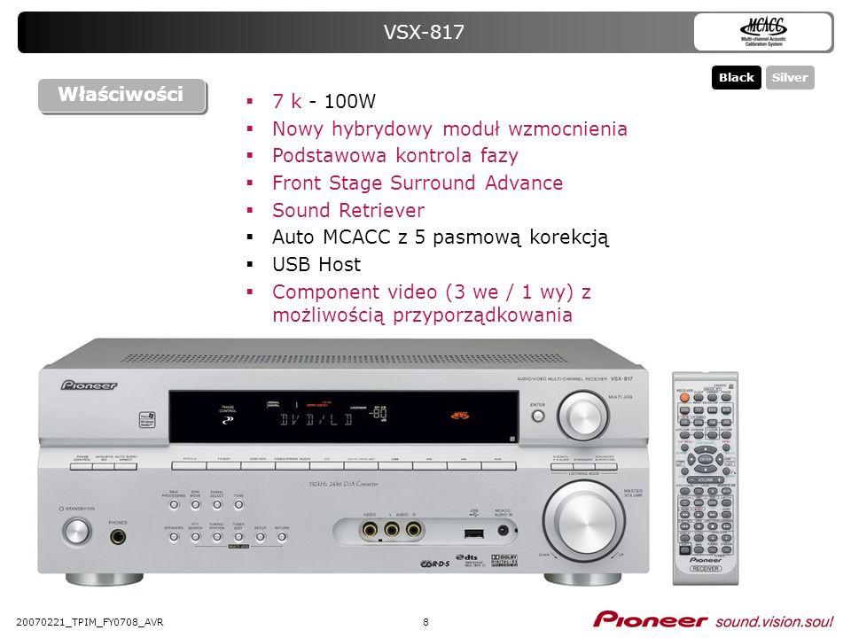 820070221_TPIM_FY0708_AVR VSX-817 7 k - 100W Nowy hybrydowy moduł wzmocnienia Podstawowa kontrola fazy Front Stage Surround Advance Sound Retriever Au