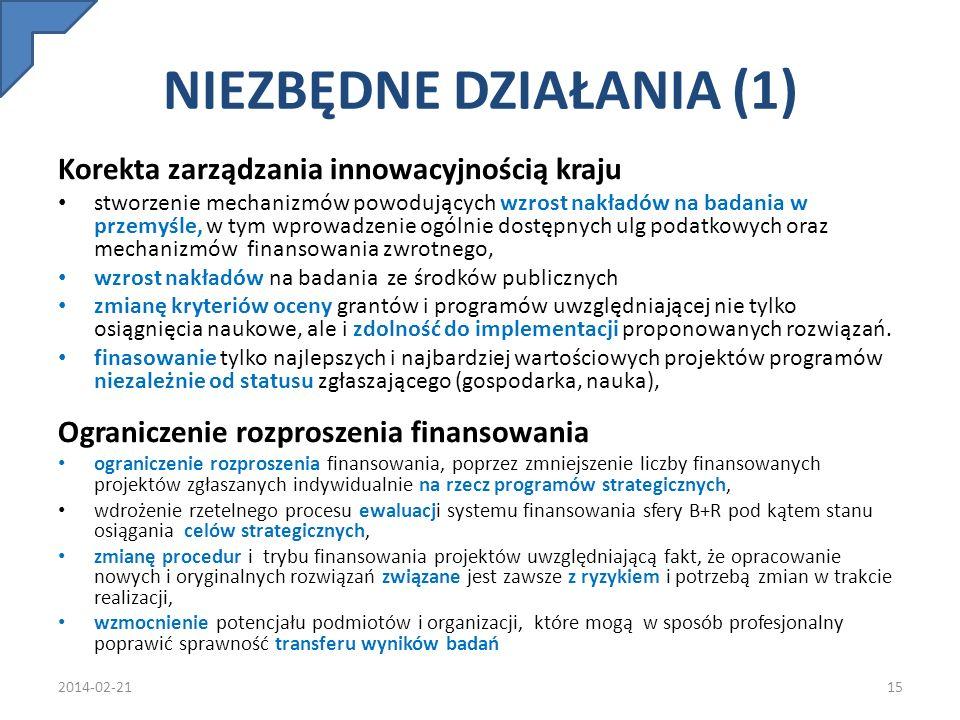 NIEZBĘDNE DZIAŁANIA (1) Korekta zarządzania innowacyjnością kraju stworzenie mechanizmów powodujących wzrost nakładów na badania w przemyśle, w tym wp