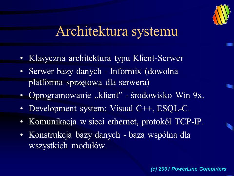 Architektura systemu Klasyczna architektura typu Klient-Serwer Serwer bazy danych - Informix (dowolna platforma sprzętowa dla serwera) Oprogramowanie klient - środowisko Win 9x.