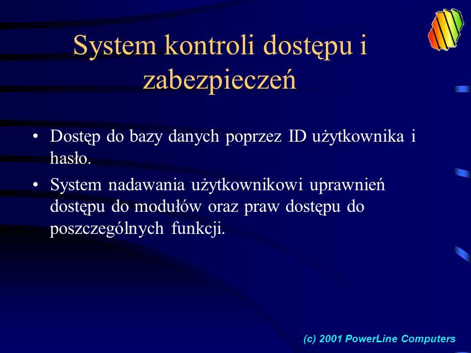 System kontroli dostępu i zabezpieczeń Dostęp do bazy danych poprzez ID użytkownika i hasło.