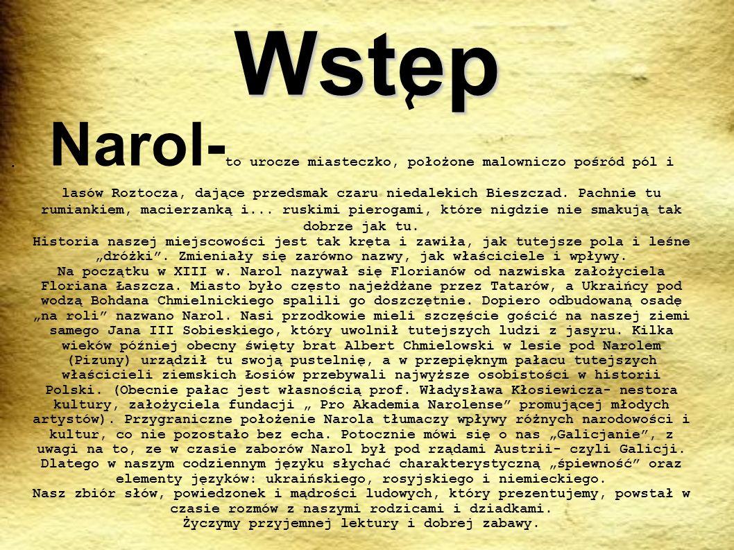 Wstep Narol- to urocze miasteczko, położone malowniczo pośród pól i lasów Roztocza, dające przedsmak czaru niedalekich Bieszczad. Pachnie tu rumiankie