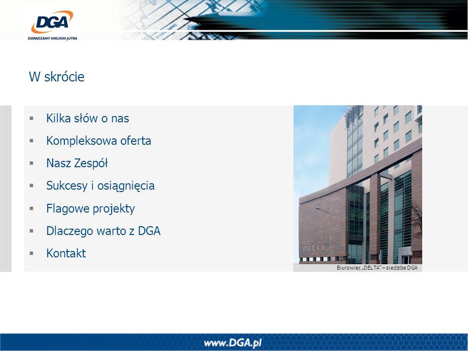 Biurowiec DELTA – siedziba DGA Kilka słów o nas Kompleksowa oferta Nasz Zespół Sukcesy i osiągnięcia Flagowe projekty Dlaczego warto z DGA Kontakt W s