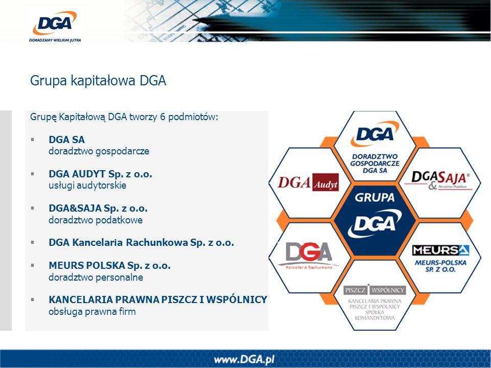 Grupę Kapitałową DGA tworzy 6 podmiotów: DGA SA doradztwo gospodarcze DGA AUDYT Sp. z o.o. usługi audytorskie DGA&SAJA Sp. z o.o. doradztwo podatkowe