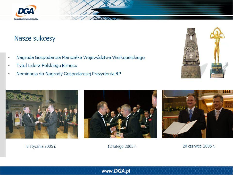 Nasze sukcesy Nagroda Gospodarcza Marszałka Województwa Wielkopolskiego Tytuł Lidera Polskiego Biznesu Nominacja do Nagrody Gospodarczej Prezydenta RP