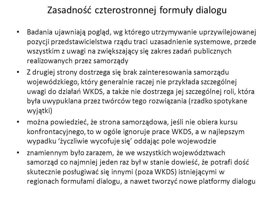 Zasadność czterostronnej formuły dialogu Badania ujawniają pogląd, wg którego utrzymywanie uprzywilejowanej pozycji przedstawicielstwa rządu traci uza