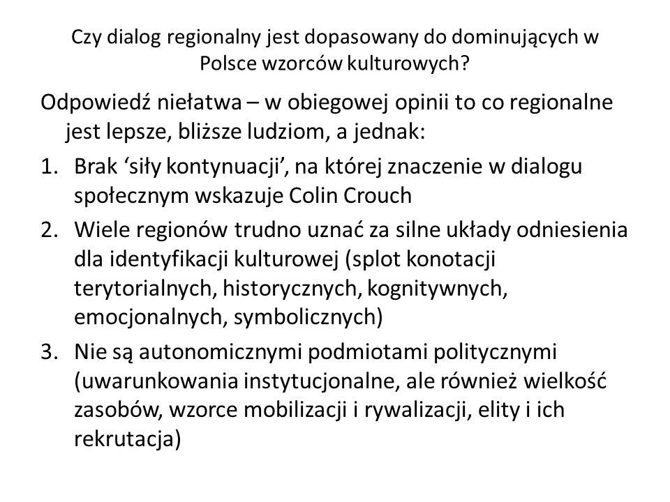 Czy dialog regionalny jest dopasowany do dominujących w Polsce wzorców kulturowych? Odpowiedź niełatwa – w obiegowej opinii to co regionalne jest leps