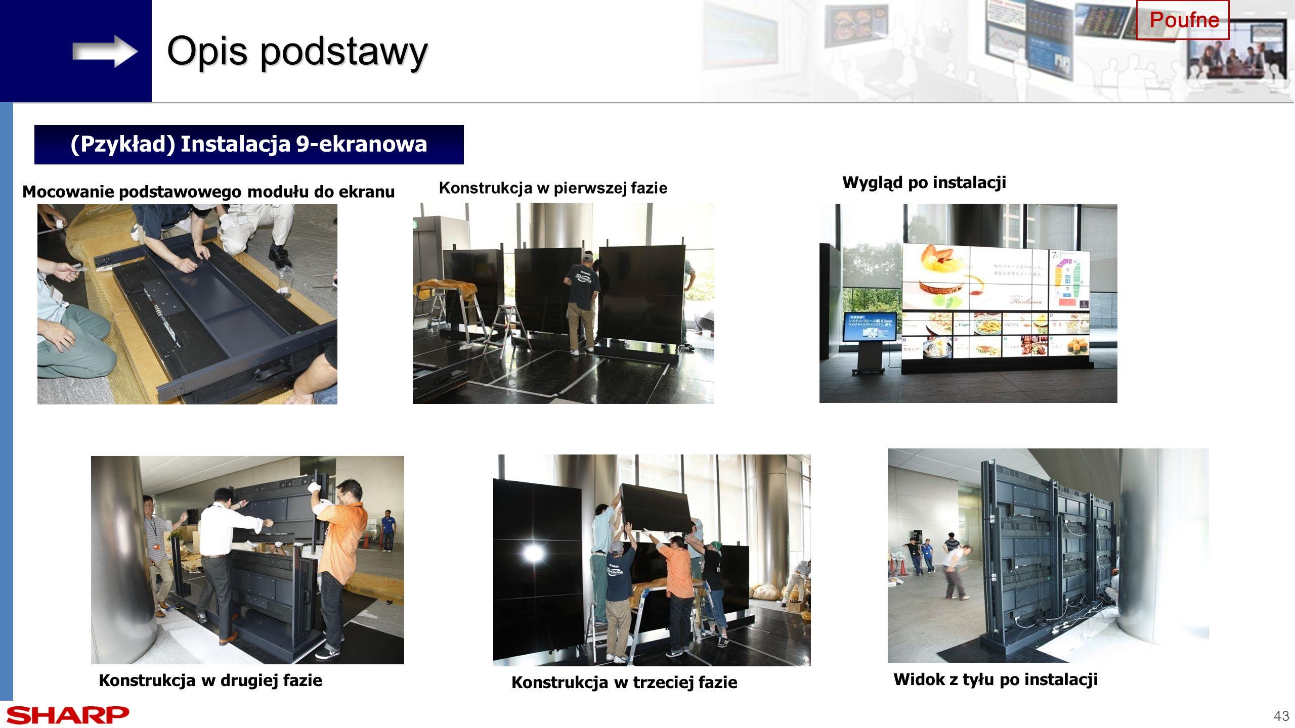43 Poufne Opis podstawy (Pzykład) Instalacja 9-ekranowa Konstrukcja w pierwszej fazie Wygląd po instalacji Konstrukcja w drugiej fazie Mocowanie podst