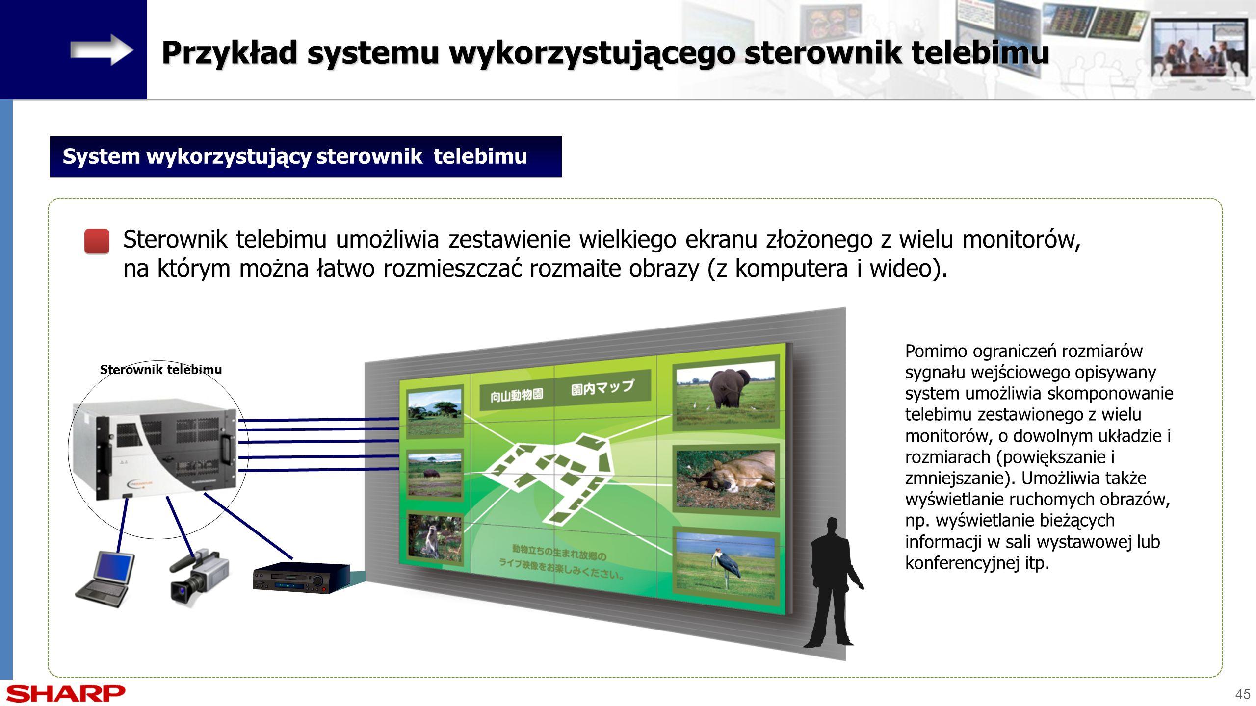 45 Sterownik telebimu System wykorzystujący sterownik telebimu Sterownik telebimu umożliwia zestawienie wielkiego ekranu złożonego z wielu monitorów,