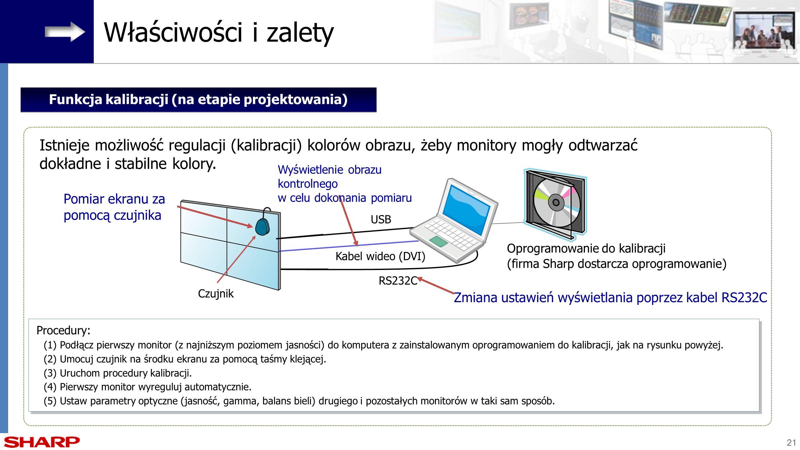 21 Oprogramowanie do kalibracji (firma Sharp dostarcza oprogramowanie) USB Zmiana ustawień wyświetlania poprzez kabel RS232C RS232C Kabel wideo (DVI)