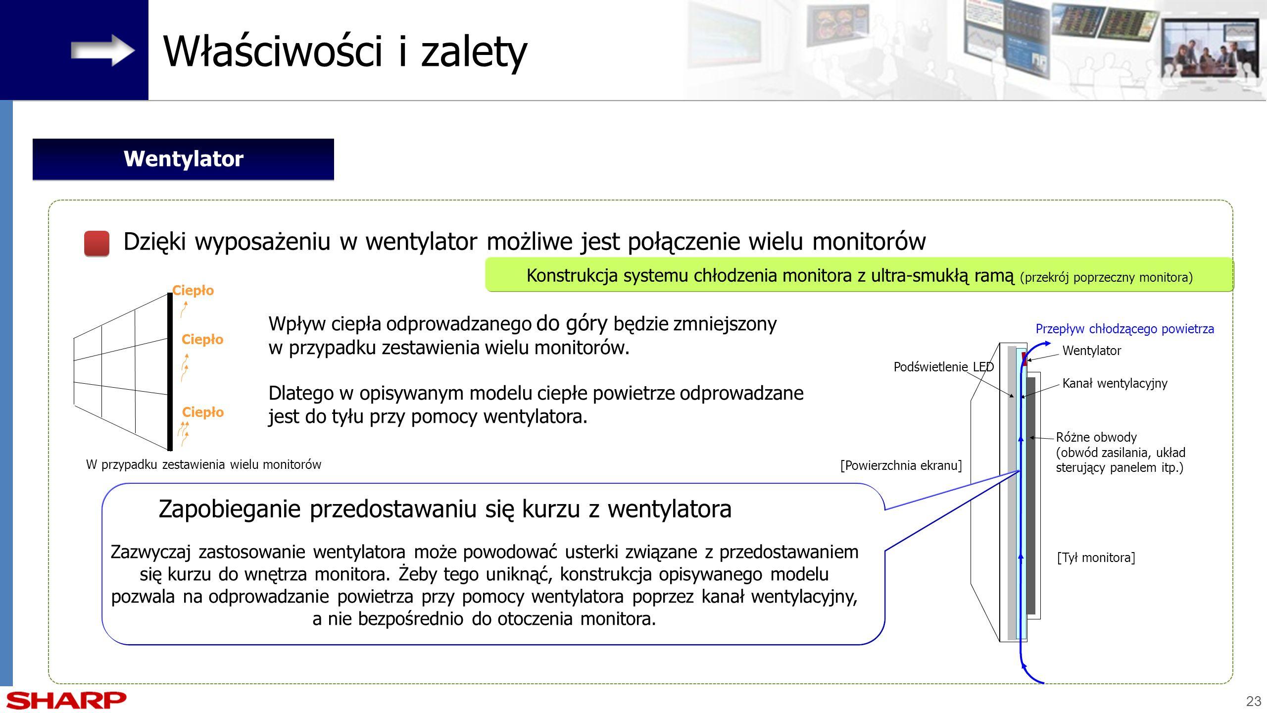 23 Wpływ ciepła odprowadzanego do góry będzie zmniejszony w przypadku zestawienia wielu monitorów. Dlatego w opisywanym modelu ciepłe powietrze odprow