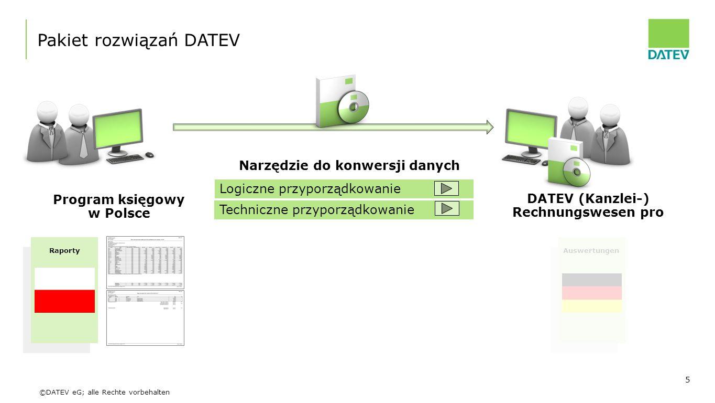 ©DATEV eG; alle Rechte vorbehalten 5 Program księgowy w Polsce DATEV (Kanzlei-) Rechnungswesen pro Pakiet rozwiązań DATEV Narzędzie do konwersji danyc