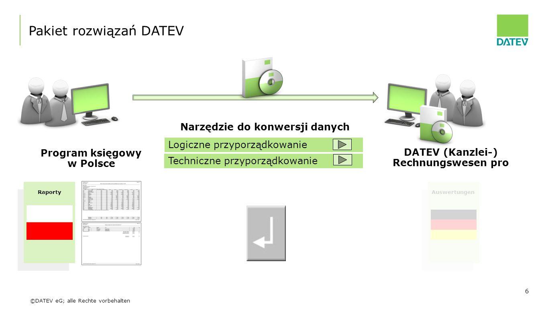 ©DATEV eG; alle Rechte vorbehalten 6 Program księgowy w Polsce DATEV (Kanzlei-) Rechnungswesen pro Pakiet rozwiązań DATEV Narzędzie do konwersji danyc
