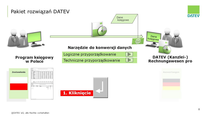 ©DATEV eG; alle Rechte vorbehalten 8 Program księgowy w Polsce DATEV (Kanzlei-) Rechnungswesen pro Pakiet rozwiązań DATEV Narzędzie do konwersji danyc