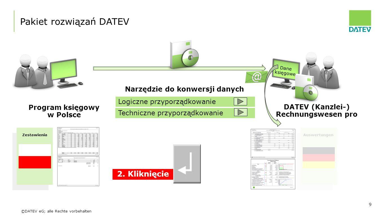 ©DATEV eG; alle Rechte vorbehalten 9 Program księgowy w Polsce DATEV (Kanzlei-) Rechnungswesen pro Pakiet rozwiązań DATEV Narzędzie do konwersji danyc
