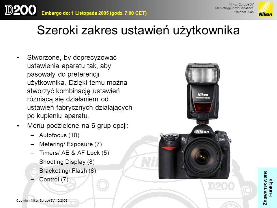 Nikon Europe BV Marketing Communications October 2005 Embargo do: 1 Listopada 2005 (godz. 7:00 CET) Copyright Nikon Europe BV, 10/2005 Szeroki zakres