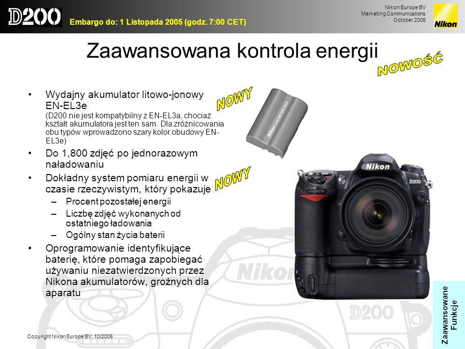 Nikon Europe BV Marketing Communications October 2005 Embargo do: 1 Listopada 2005 (godz. 7:00 CET) Copyright Nikon Europe BV, 10/2005 Zaawansowana ko