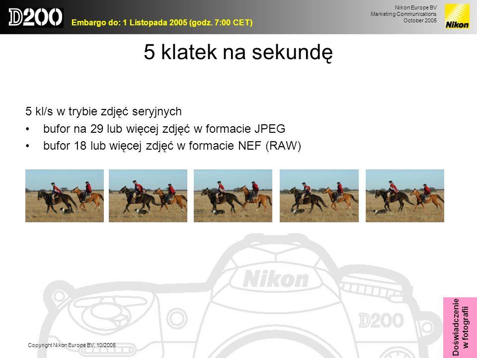 Nikon Europe BV Marketing Communications October 2005 Embargo do: 1 Listopada 2005 (godz. 7:00 CET) Copyright Nikon Europe BV, 10/2005 5 klatek na sek