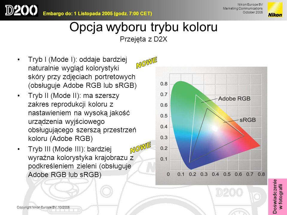 Nikon Europe BV Marketing Communications October 2005 Embargo do: 1 Listopada 2005 (godz. 7:00 CET) Copyright Nikon Europe BV, 10/2005 Opcja wyboru tr