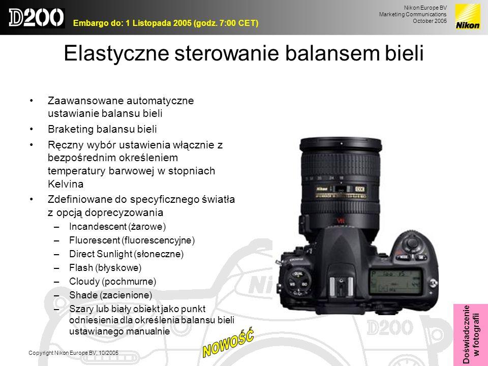 Nikon Europe BV Marketing Communications October 2005 Embargo do: 1 Listopada 2005 (godz. 7:00 CET) Copyright Nikon Europe BV, 10/2005 Elastyczne ster