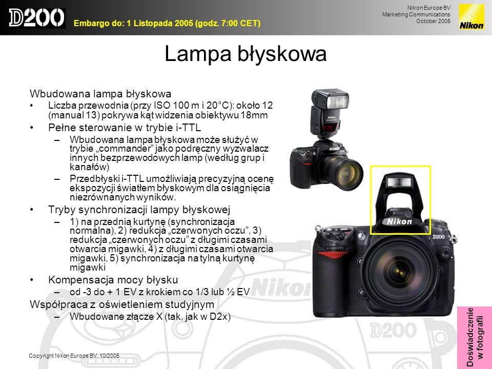 Nikon Europe BV Marketing Communications October 2005 Embargo do: 1 Listopada 2005 (godz. 7:00 CET) Copyright Nikon Europe BV, 10/2005 Lampa błyskowa