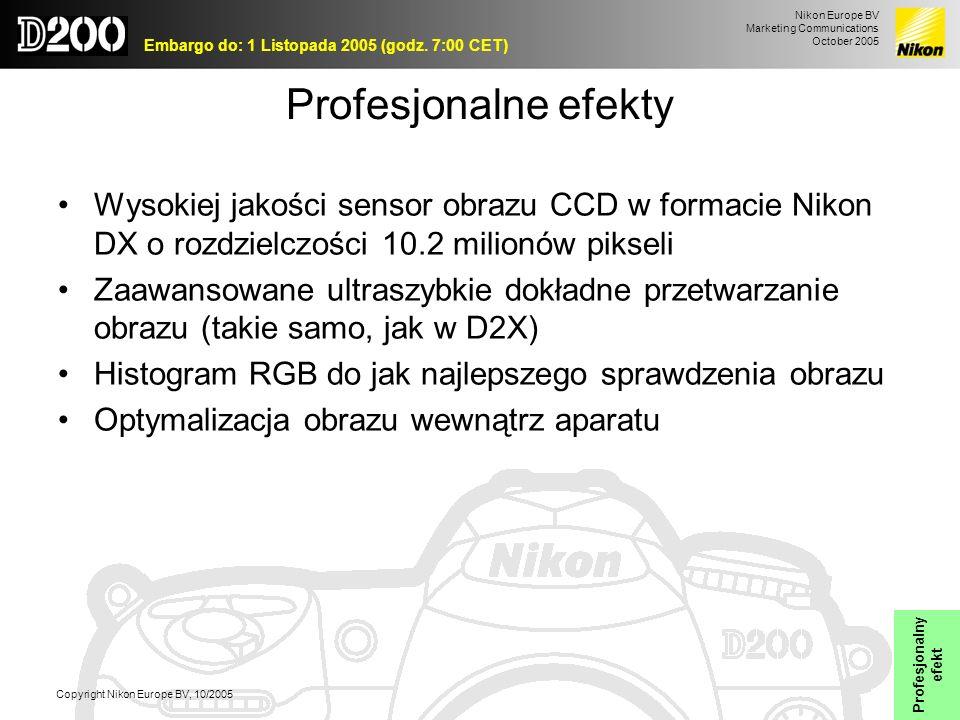 Nikon Europe BV Marketing Communications October 2005 Embargo do: 1 Listopada 2005 (godz. 7:00 CET) Copyright Nikon Europe BV, 10/2005 Profesjonalne e