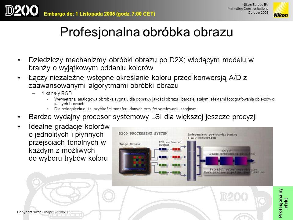 Nikon Europe BV Marketing Communications October 2005 Embargo do: 1 Listopada 2005 (godz. 7:00 CET) Copyright Nikon Europe BV, 10/2005 Profesjonalna o