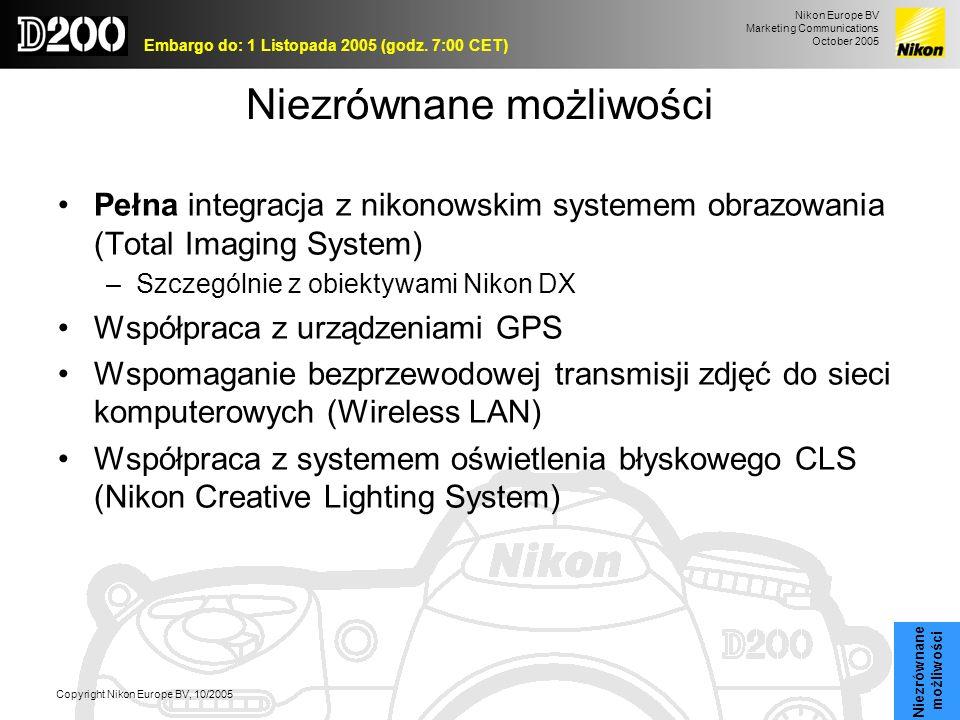Nikon Europe BV Marketing Communications October 2005 Embargo do: 1 Listopada 2005 (godz. 7:00 CET) Copyright Nikon Europe BV, 10/2005 Niezrównane moż