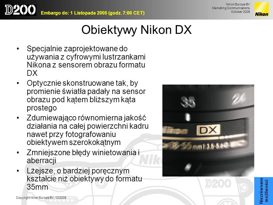 Nikon Europe BV Marketing Communications October 2005 Embargo do: 1 Listopada 2005 (godz. 7:00 CET) Copyright Nikon Europe BV, 10/2005 Obiektywy Nikon