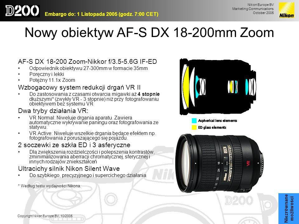 Nikon Europe BV Marketing Communications October 2005 Embargo do: 1 Listopada 2005 (godz. 7:00 CET) Copyright Nikon Europe BV, 10/2005 Nowy obiektyw A