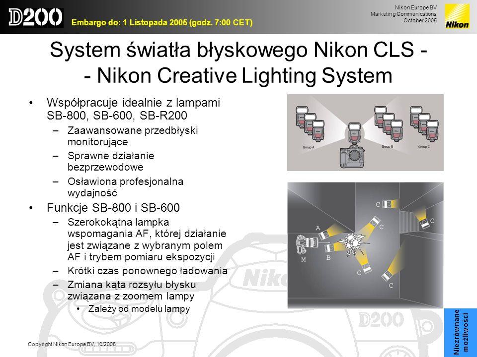Nikon Europe BV Marketing Communications October 2005 Embargo do: 1 Listopada 2005 (godz. 7:00 CET) Copyright Nikon Europe BV, 10/2005 System światła