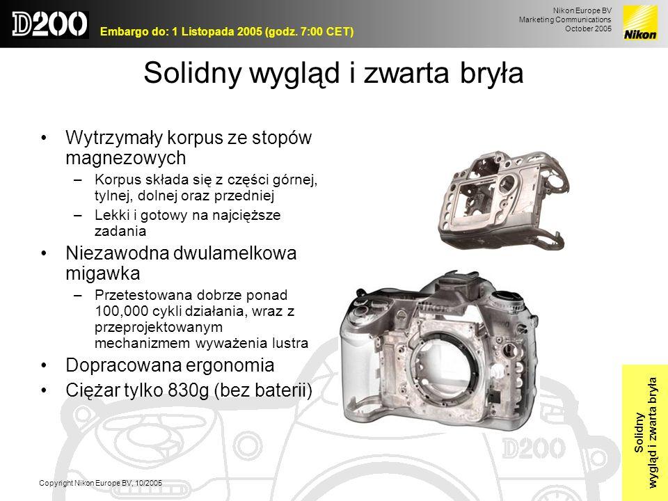 Nikon Europe BV Marketing Communications October 2005 Embargo do: 1 Listopada 2005 (godz. 7:00 CET) Copyright Nikon Europe BV, 10/2005 Solidny wygląd