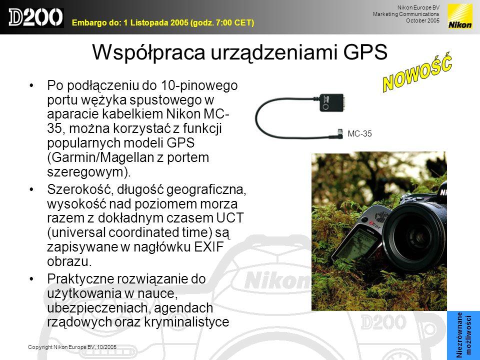 Nikon Europe BV Marketing Communications October 2005 Embargo do: 1 Listopada 2005 (godz. 7:00 CET) Copyright Nikon Europe BV, 10/2005 Współpraca urzą