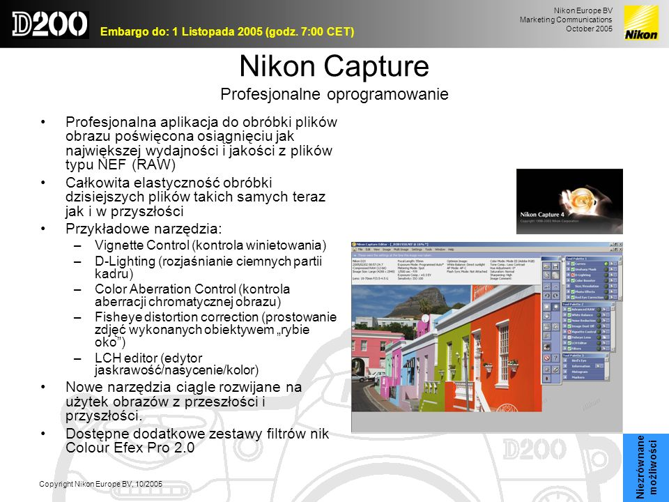 Nikon Europe BV Marketing Communications October 2005 Embargo do: 1 Listopada 2005 (godz. 7:00 CET) Copyright Nikon Europe BV, 10/2005 Nikon Capture P