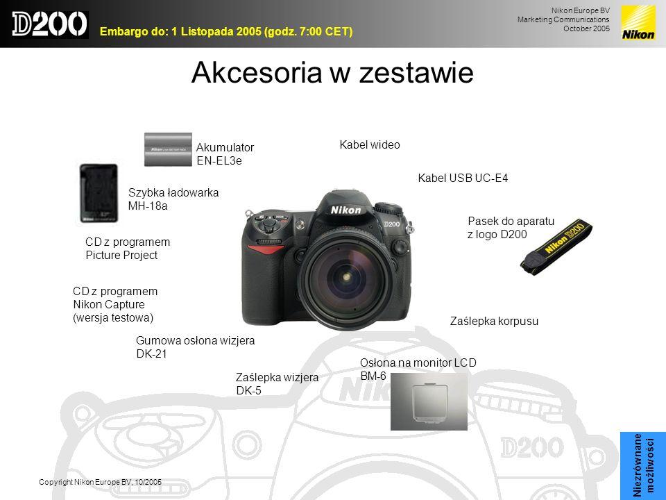 Nikon Europe BV Marketing Communications October 2005 Embargo do: 1 Listopada 2005 (godz. 7:00 CET) Copyright Nikon Europe BV, 10/2005 Akcesoria w zes