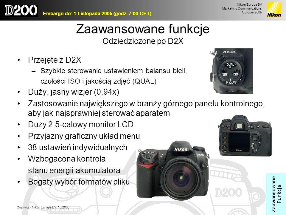 Nikon Europe BV Marketing Communications October 2005 Embargo do: 1 Listopada 2005 (godz. 7:00 CET) Copyright Nikon Europe BV, 10/2005 Zaawansowane fu