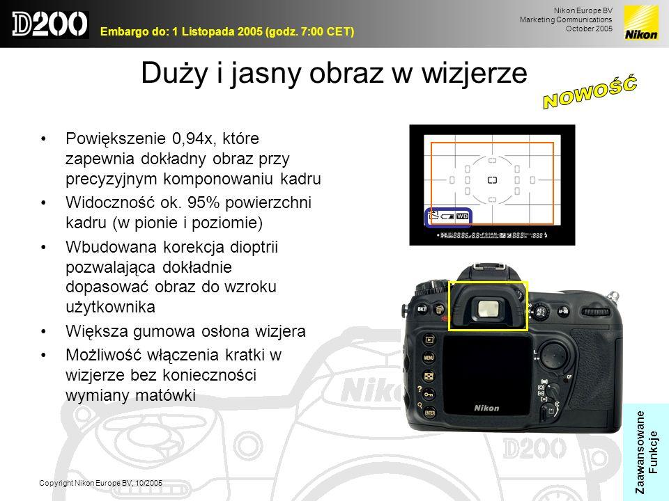 Nikon Europe BV Marketing Communications October 2005 Embargo do: 1 Listopada 2005 (godz. 7:00 CET) Copyright Nikon Europe BV, 10/2005 Duży i jasny ob