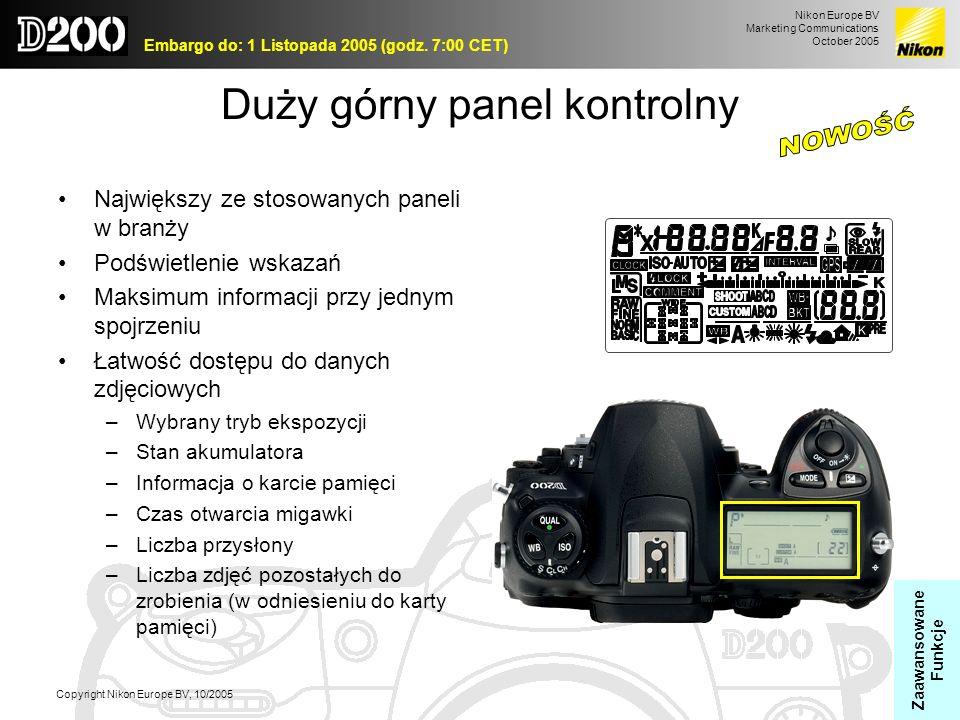 Nikon Europe BV Marketing Communications October 2005 Embargo do: 1 Listopada 2005 (godz. 7:00 CET) Copyright Nikon Europe BV, 10/2005 Duży górny pane
