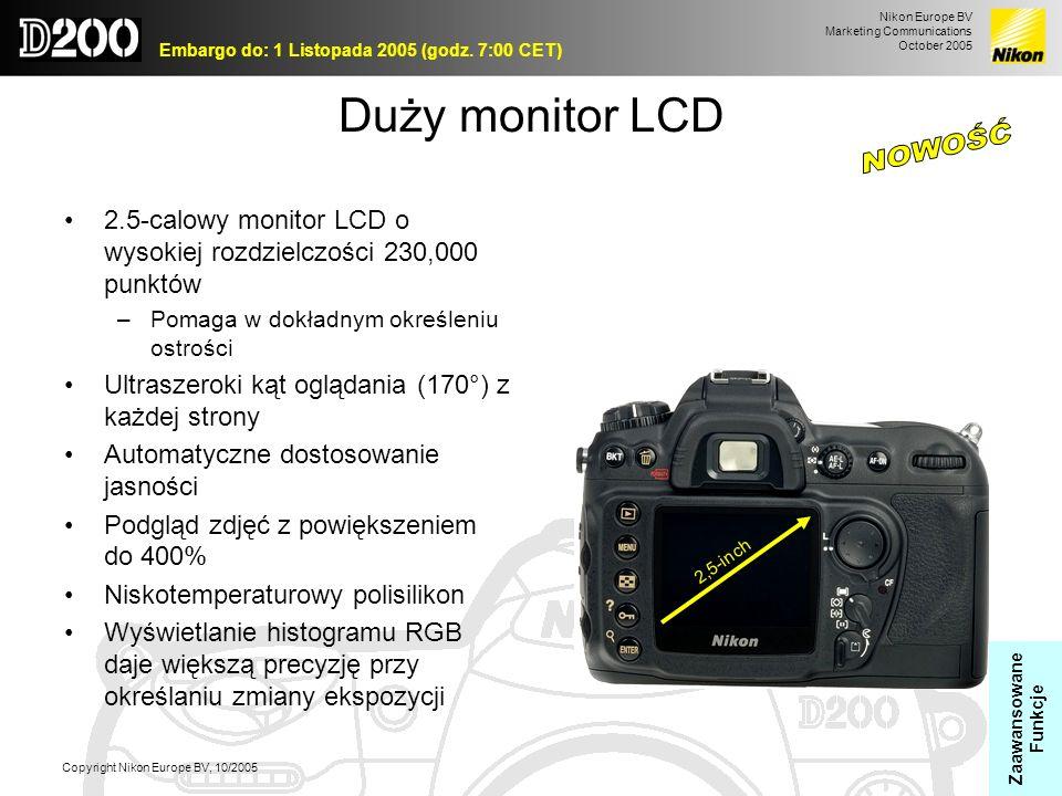 Nikon Europe BV Marketing Communications October 2005 Embargo do: 1 Listopada 2005 (godz. 7:00 CET) Copyright Nikon Europe BV, 10/2005 Duży monitor LC